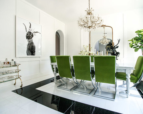 Example Of A Large Trendy Marble Floor And White Enclosed Dining Room Design In Dallas