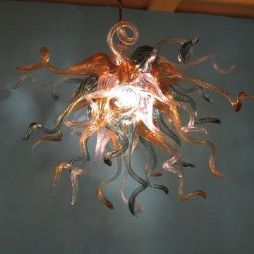 Blown Glass Chandelier - Art Glass Chandelier - Art Glass Lighting - Teal  Amber