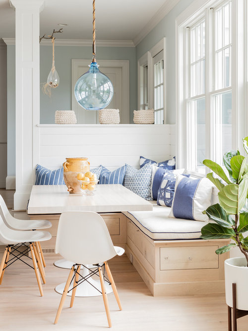 Example of a coastal light wood floor great room design in Boston with blue  walls. Top 100 Beach Style Dining Room Ideas   Decoration Pictures   Houzz