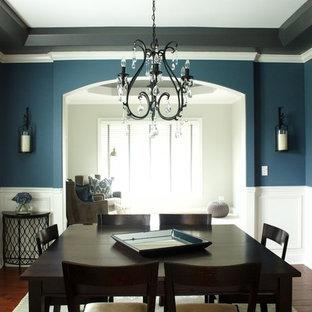 シカゴの中くらいのコンテンポラリースタイルのおしゃれなダイニングキッチン (青い壁、濃色無垢フローリング、暖炉なし) の写真