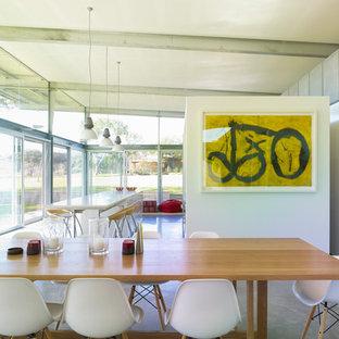 Idee per una grande sala da pranzo aperta verso la cucina moderna con pareti bianche e pavimento in cemento