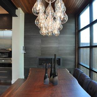 Cette image montre une grande salle à manger ouverte sur la cuisine design avec mur métallisé, une cheminée ribbon et un manteau de cheminée en métal.