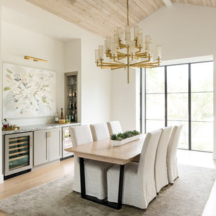 Enclosed Dining Room Large Contemporary Light Wood Floor And Beige Idea