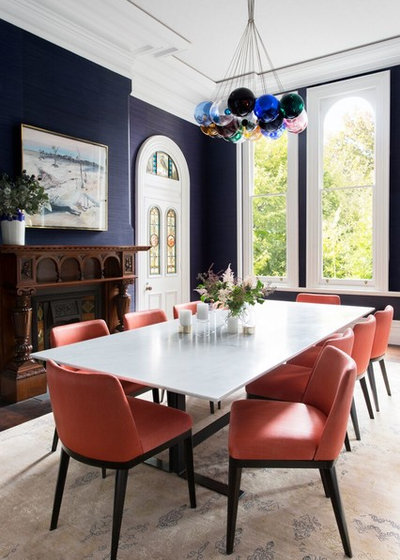 Transitional Dining Room by Moss Melbourne
