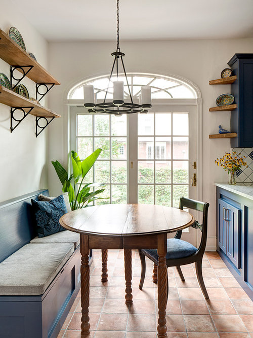 Houzz Dining Room Ideas Part - 35: Example Of A Small Tuscan Terra-cotta Floor And Orange Floor Kitchen/dining  Room