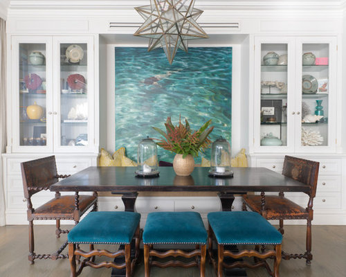 Beach Style Dining Room In Sydney With White Walls And Dark Hardwood Floors