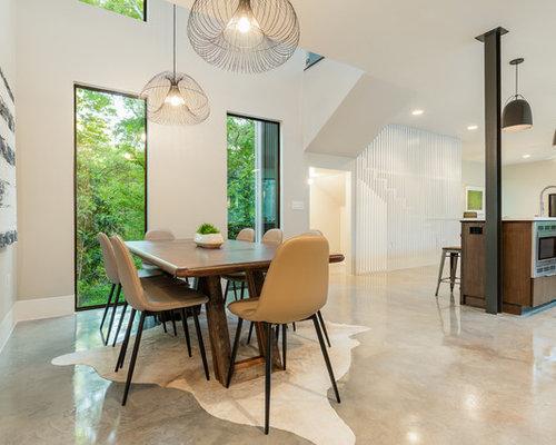 Example Of A Trendy Beige Floor Kitchen/dining Room Combo Design In Austin  With Beige