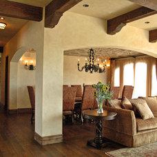 Mediterranean Dining Room by BGI Architecture Inc.