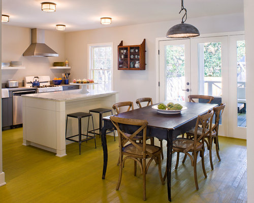 Transitional Kitchen Dining Room Combo Idea In Austin With White Walls And Green Floors