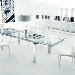 Bontempi Casa Label Table - Made in Italy, Extra Clear Glass. Stainless steel frame.