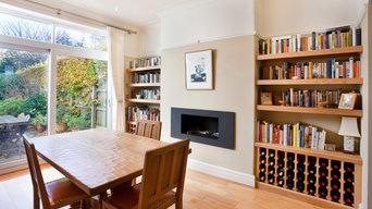 Book shelves and wine racks.