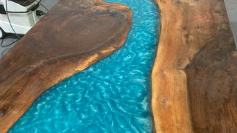 Bora Bora Blue Epoxy River Table