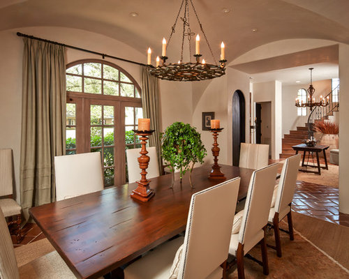 Mediterranean Terra Cotta Floor Dining Room Idea In Houston