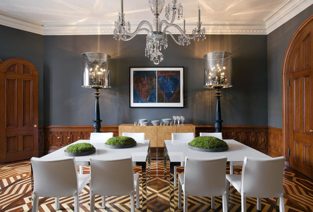 Eclectic Dining Room by Walker Architects