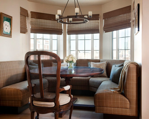 Small Elegant Dining Room Photo In Boston With Beige Walls