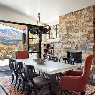デンバーの広いラスティックスタイルのおしゃれなLDK (白い壁、濃色無垢フローリング、石材の暖炉まわり、横長型暖炉、茶色い床) の写真