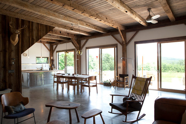 Rustic Dining Room by kimberly peck architect