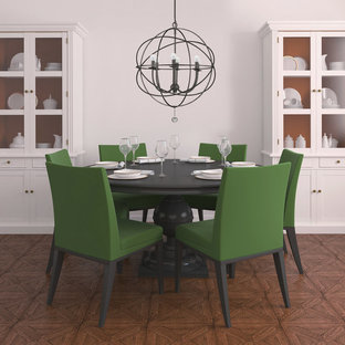 Example of a mid-sized trendy linoleum floor enclosed dining room design in Other with white walls