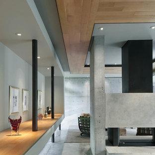 Idéer för att renovera ett stort funkis kök med matplats, med grå väggar och klinkergolv i keramik