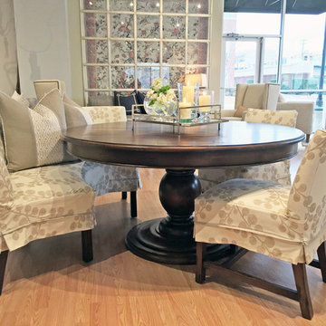 Breakfast nook table and slipcovered chairs