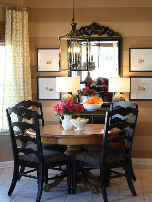 Attractive Contemporary Ceramic Floor Dining Room Idea In Charlotte With Brown Walls Part 27