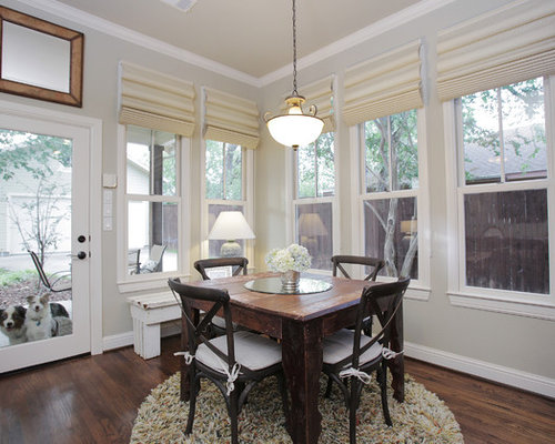 Inspiration for an eclectic dining room remodel in Dallas with gray walls  and dark hardwood floors. Tear Drop Roman Shades   Houzz