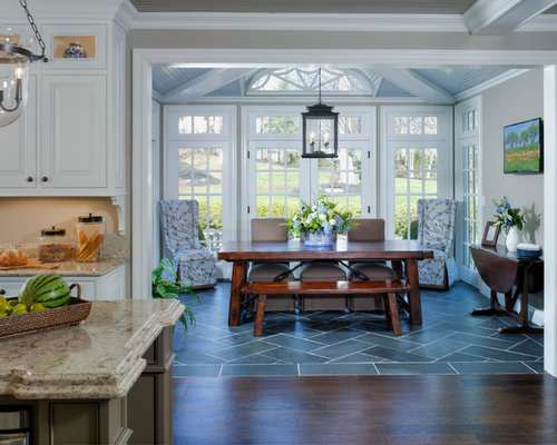 inspiration for a timeless kitchendining combo remodel in newark with gray walls - Sunroom Dining Room