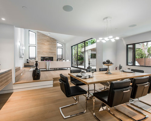 Contemporary Great Room Idea In Los Angeles With White Walls, Medium Tone  Hardwood Floors And