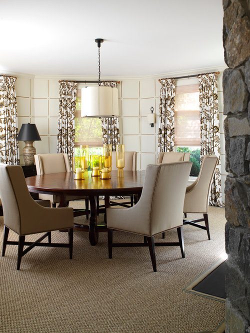 Elegant Carpeted Dining Room Photo In New York With White Walls