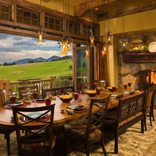 Dining room - rustic dining room idea in Other with a stone fireplace and yellow walls