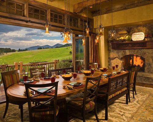 Esszimmer Mit Kamin Einrichten : Rustic Country Dining Room
