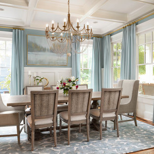 Example Of A Transitional Medium Tone Wood Floor And Brown Enclosed Dining Room Design In