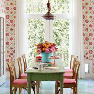 Dining room - small beach style painted wood floor dining room idea in Los Angeles with multicolored walls