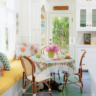 Inspiration for a mid-sized beach style painted wood floor and multicolored floor kitchen/dining room combo remodel in Los Angeles with white walls