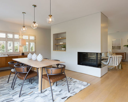 Great Room   Large Midcentury Modern Light Wood Floor Great Room Idea In  San Francisco With