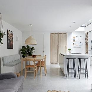 ロンドンの大きい北欧スタイルのおしゃれなLDK (コンクリートの床、グレーの床) の写真