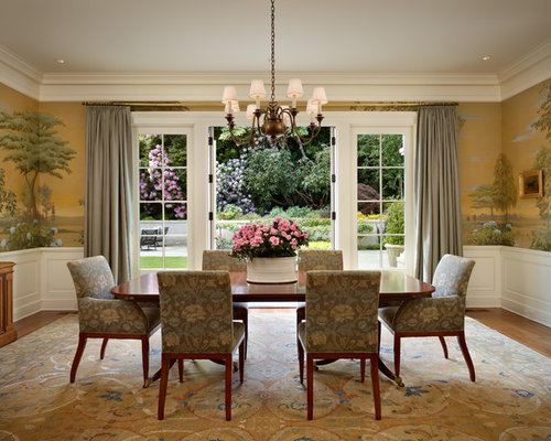 living room wall murals. Example of a classic medium tone wood floor dining room design in Seattle Wall Mural  Houzz