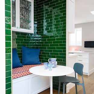 Design Ideas For An Eclectic Kitchen Dining Combo In Sydney With Green Walls Medium