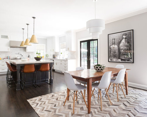 Transitional Dark Wood Floor And Brown Kitchen Dining Room Combo Photo In New York