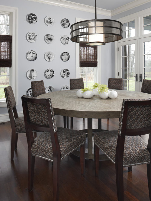 Example Of A Mid Sized Trendy Dark Wood Floor Kitchen Dining Room Combo Design