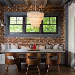 Example of a small farmhouse dark wood floor and brown floor great room design in Atlanta