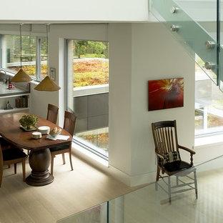 Mittelgroße Moderne Wohnküche ohne Kamin mit weißer Wandfarbe und hellem Holzboden in Boston