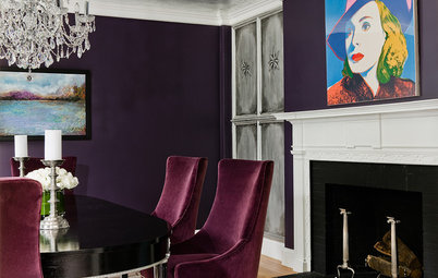 Aubergine Walls and a Silver Leaf Ceiling Create Dining Room Chic