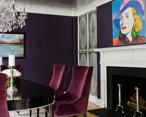 Esszimmer mit gefliestem Kaminsims und lila Wandfarbe Ideen, Design & Bilder  Houzz