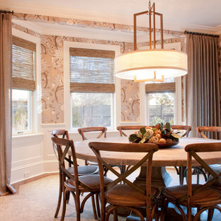 Inspiration for a transitional dark wood floor dining room remodel in Boston