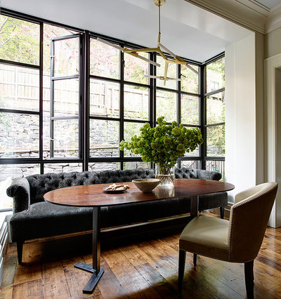 Transitional Dining Room by CWB Architects