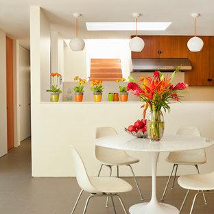 Foto di una sala da pranzo aperta verso la cucina minimalista con pavimento con piastrelle in ceramica