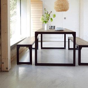 Ispirazione per una sala da pranzo aperta verso la cucina minimalista di medie dimensioni con pareti bianche e pavimento in cemento