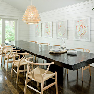 Dark Table Light Chairs Houzz - Dark wood dining table with white chairs