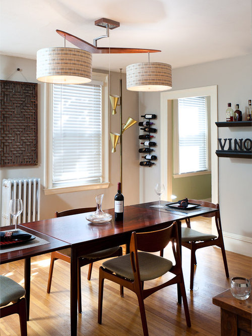 1950s Medium Tone Wood Floor Dining Room Photo In Portland Maine With Gray  Walls